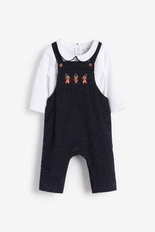 Muted Smart Cord Dungarees And Jersey Bodysuit Set (0mths-3yrs)