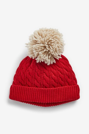 Red Cable Knitted Hat With Pom (0mths-2yrs)