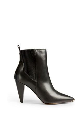 Ted Baker Conella Black Leather Cone Heel Boots
