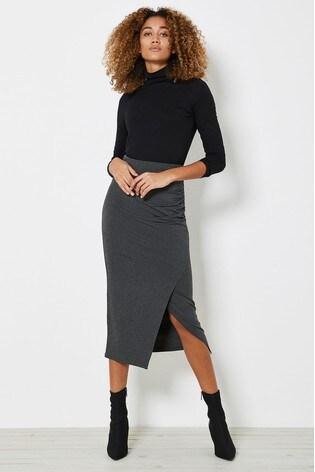 Mint Velvet Grey Jersey Wrap Midi Skirt