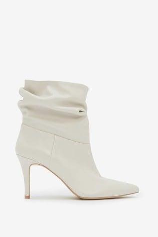Mint Velvet Anya Off-White Leather Boots