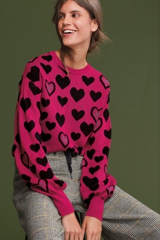 Pink Sparkle Heart Jumper