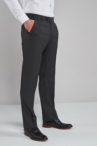 Charcoal Regular Fit Stretch Formal Trousers