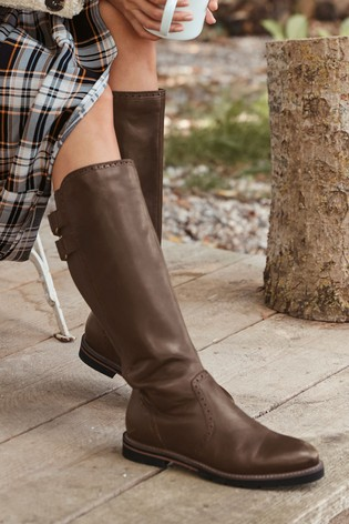 Chocolate Regular/Wide Fit Forever Comfort® Long Brogue Boots