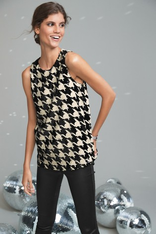 Monochrome Dogtooth Sequin Vest Top