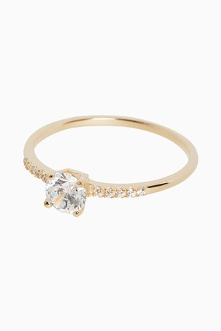 Sterling Silver 18ct Gold Plated Solitaire Ring