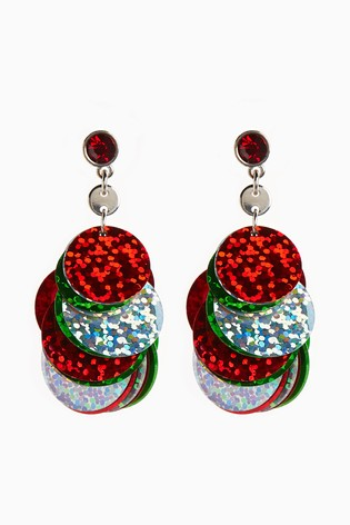 Red/Green Sequin Drop Earrings