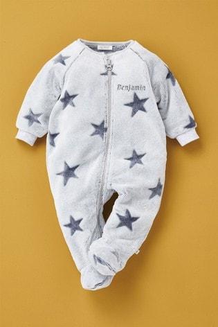 Personalised Star Fleece Sleepsuit