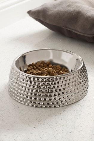 Silver Ceramic Dog Bowl