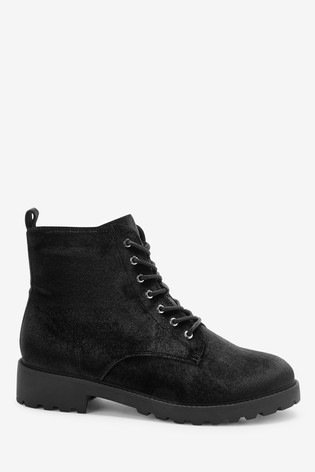 Black Velvet Forever Comfort® Cleat Sole Lace-Up Ankle Boots