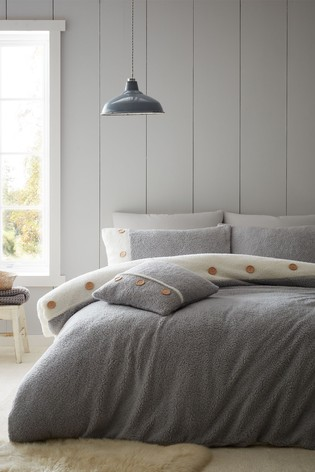 Catherine Lansfield So Soft 2 Tone Buttoned Sherpa Fleece Duvet Cover and Pillowcase Set