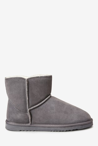Buy Grey Suede Slipper Boots from the