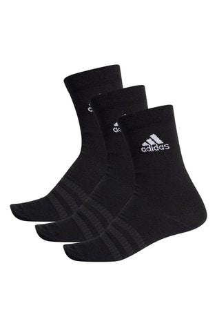 adidas Adult Black Lightweight Crew Socks Three Pack