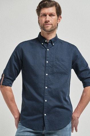 Navy Blue Regular Fit Linen Blend Roll Sleeve Shirt