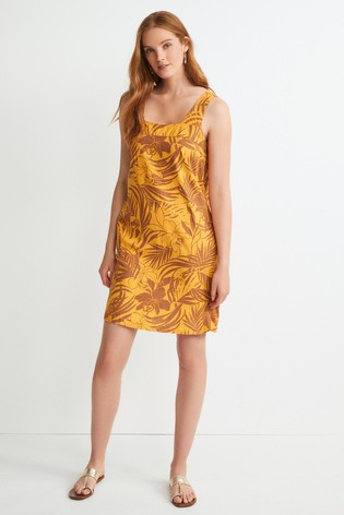 Ochre Floral Linen Blend Square Neck Dress