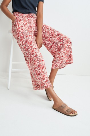 Red Print Jersey Culottes