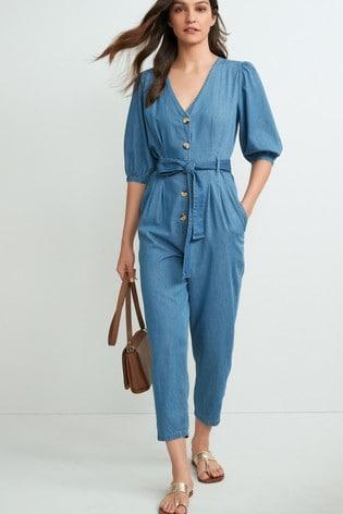 Mid Blue  Button Through Denim Volume Sleeve Jumpsuit