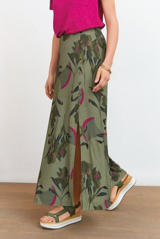 Khaki Floral Jersey Maxi Skirt