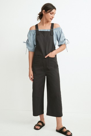 Charcoal Twill Dungarees
