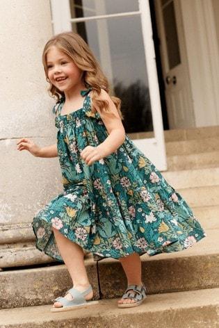 Morris & Co at Next Floral Cotton Tie Shoulder Dress (3-16yrs)