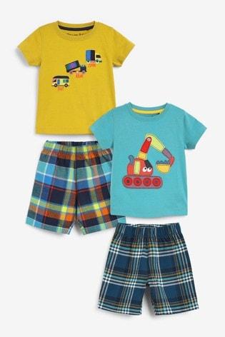 Green/Yellow Digger 2 Pack Woven Shorts Pyjamas (9mths-8yrs)