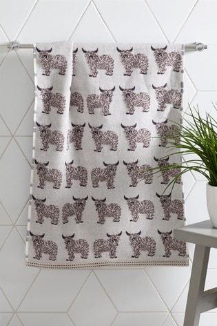 Natural Hamish the Highland Cow Towel