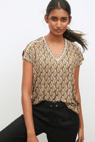 Geo Print Lace Insert Short Sleeve T-Shirt