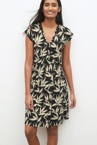 Black Leaf Print Lace Insert Dress