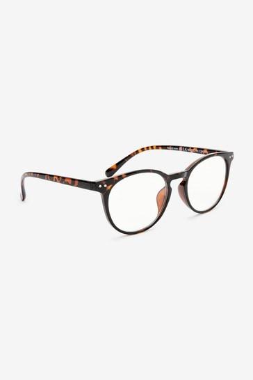 Tortoiseshell Effect Preppy Frame Blue Light Blocking Glasses