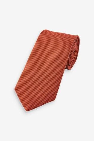 Rust Regular Signature Textured Silk Tie