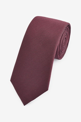 Burgundy Regular Signature Textured Silk Tie