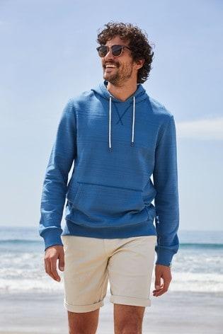 Blue Stripe Overhead Mr Blue Sky Organic Cotton Hoodie