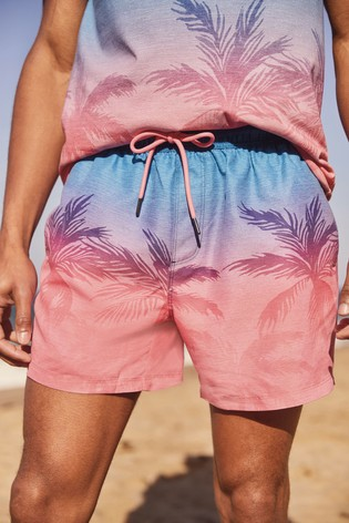 Blue/Pink Ombre Palm Print Swim Shorts
