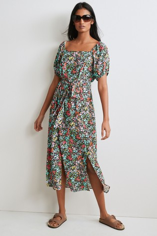 Multi Printed Square Neck Dress