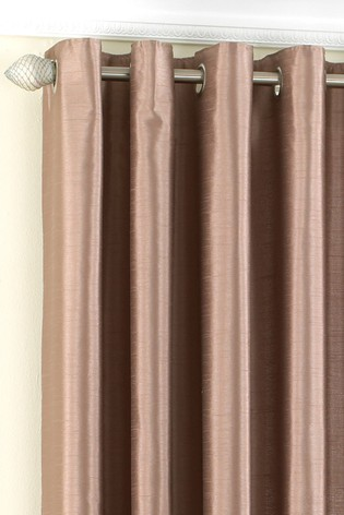 Riva Home Brown Fiji Faux Silk Eyelet Curtains