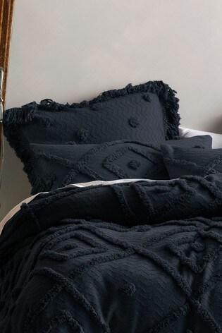 Set of 2 Linen House Blue Adalyn Geo Textured Pillowcases