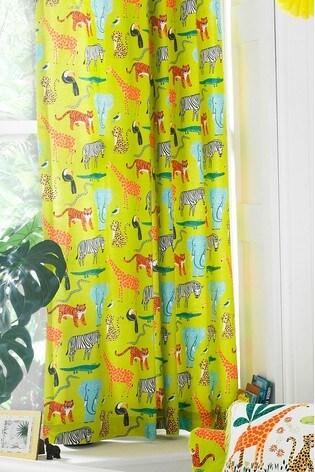 Riva Home Green Jungletastic Animal Curtains