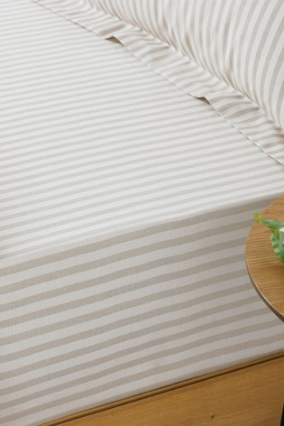 Riva Home Natural Hebden Striped Fitted Sheet