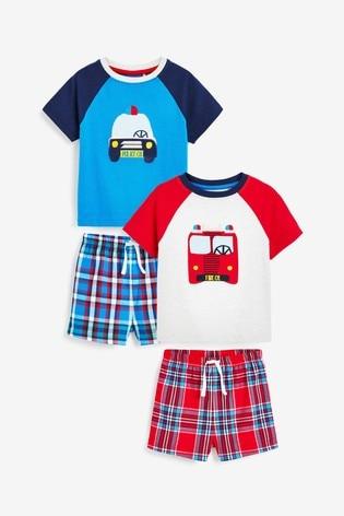 Red/Blue Transport 2 Pack Woven Shorts Pyjamas (9mths-8yrs)