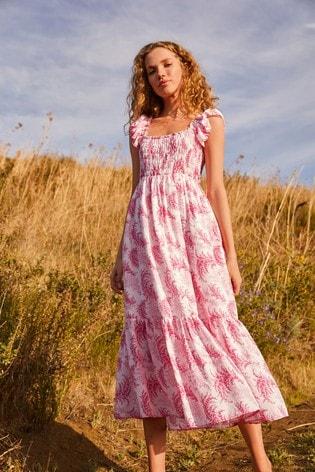 Pink Floral Savannah Miller Smocked Dress