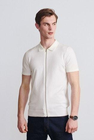 Ecru White Premium Zip Through Polo
