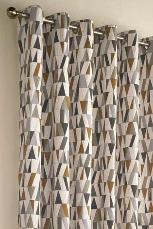 Furn Grey Reno Geo Eyelet Curtains