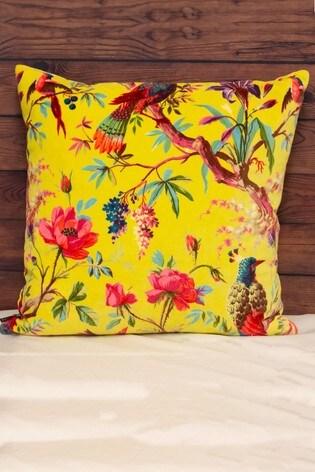 Riva Home Yellow Paradise Velvet Pom Pom Cushion