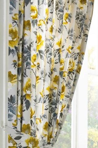 Furn Yellow Peony Pencil Pleat Curtains
