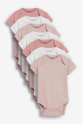 Pink/White 7 Pack Short Sleeve Bodysuits (0mths-3yrs)