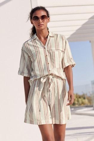 Pink Stripe Short Sleeve Utility Shirt