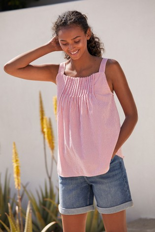 Red Stripe Pleated Front Cami