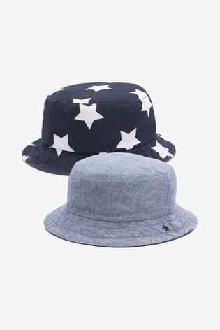 Navy Star/Chambray 2 Pack Fisherman's Hats (3mths-6yrs)