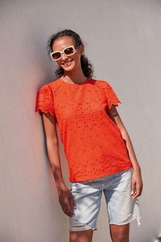 Orange Broderie T-Shirt