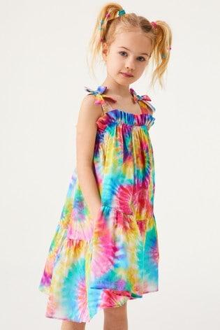 Rainbow Tie Dye Cotton Tie Shoulder Dress (3-16yrs)